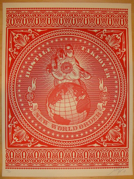 2007 Hostile Takeover - Red Art Print by Shepard Fairey