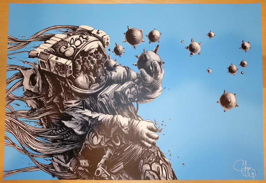 2013 Houston We Have A Problem - Sky Blue Art Print by PEZ (Pierre Yves Riveau)