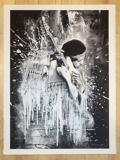 2015 Jimi - Silver Silkscreen Art Print by Mr. Brainwash