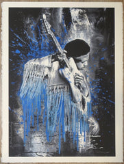 2015 Jimi - Blue Silkscreen Art Print by Mr. Brainwash