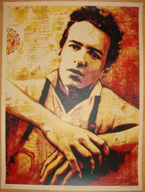 2010 Strummer Canvas - Silkscreen Art Print by Shepard Fairey