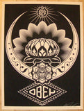 2008 Lotus Ornament - Black Silkscreen Print by Shepard Fairey
