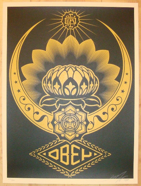 2008 Lotus Ornament - Gold Silkscreen Print by Shepard Fairey
