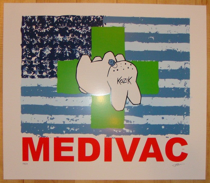 2004 Medivac - Green Silkscreen Art Print by Frank Kozik