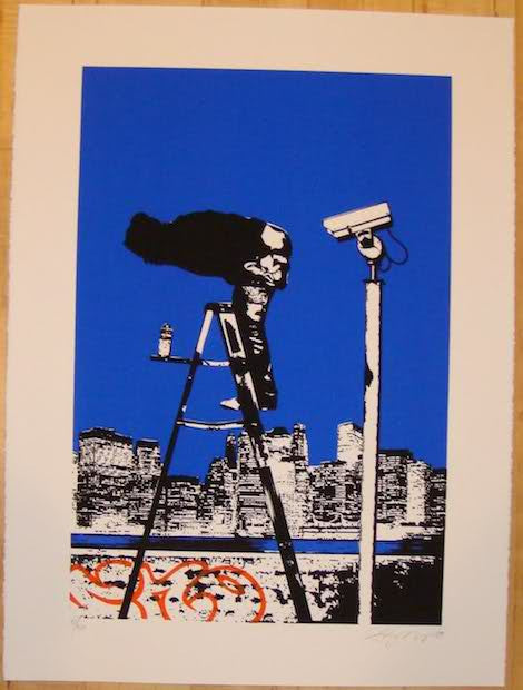 2008 Moon Over Manhattan - Silkscreen Art Print by Rene Gagnon