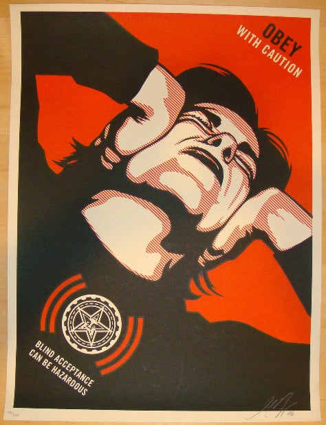 2006 Obey With Caution - Silkscreen Art Print by Shepard Fairey
