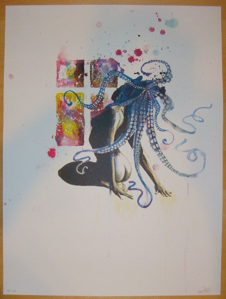 2012 Octopus Girl - Silkscreen Art Print by Lora Zombie