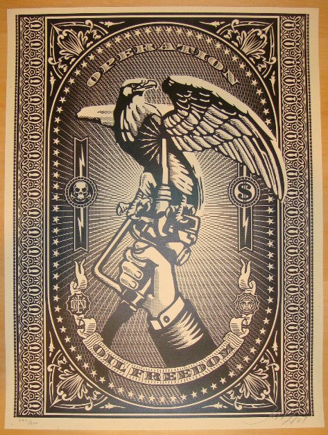 2007 Operation Oil Freedom - Silver Art Print by Shepard Fairey