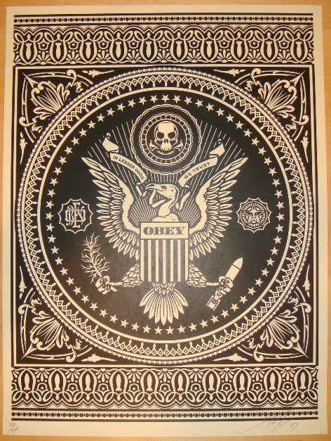 2007 Presidential Seal - Black Art Print by Shepard Fairey