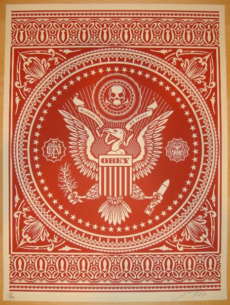 2007 Presidential Seal - Red Art Print by Shepard Fairey