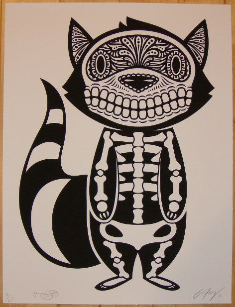 2011 Raccoon of the Dead - Art Print by Yerena & Lumbang