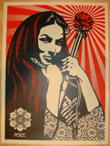 2007 Revolutionary Woman With Brush Art Print by Shepard Fairey