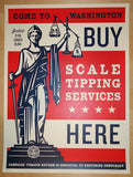 2014 Scale Tipping - Silkscreen Art Print by Shepard Fairey