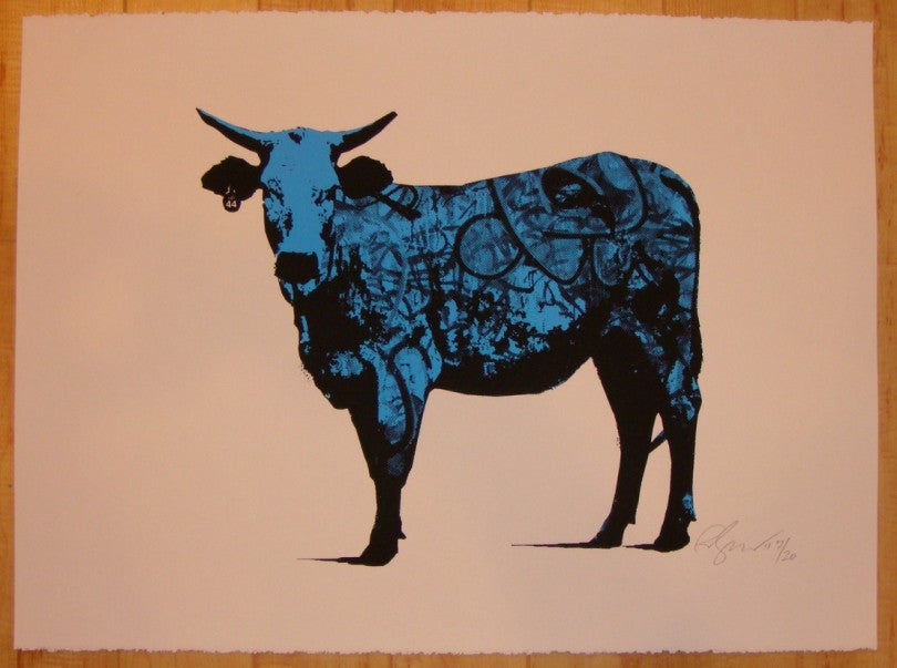 2011 Tagged - Blue Silkscreen Art Print by Rene Gagnon