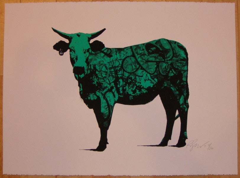 2011 Tagged - Green Silkscreen Art Print by Rene Gagnon