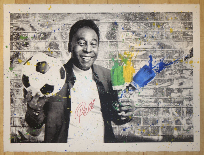 2016 Pele The King - Brushes Silkscreen Art Print by Mr. Brainwash