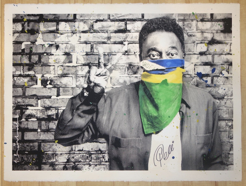 2016 Pele The King - Flag Silkscreen Art Print by Mr. Brainwash