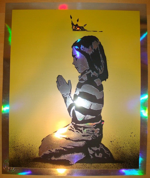 2011 Unanswered Prayers - Yellow Foil Art Print by Rene Gagnon