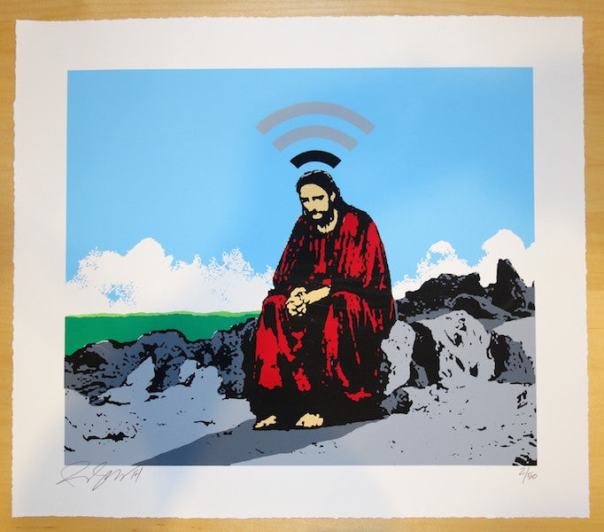 2014 WIFI Jesus - Silkscreen Art Print by Rene Gagnon