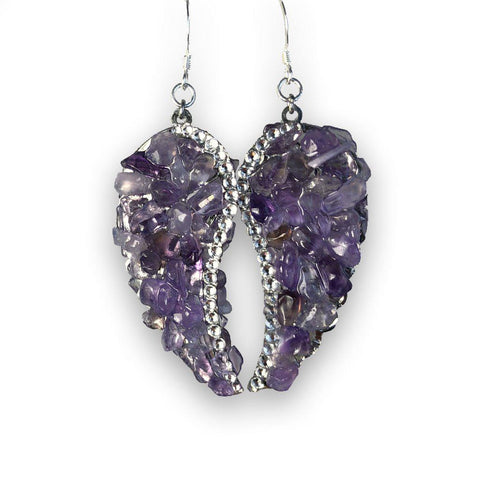 Amethyst Angel Wing Earrings with Swarovski Crystal Accent-Earings-Mulberry Rose