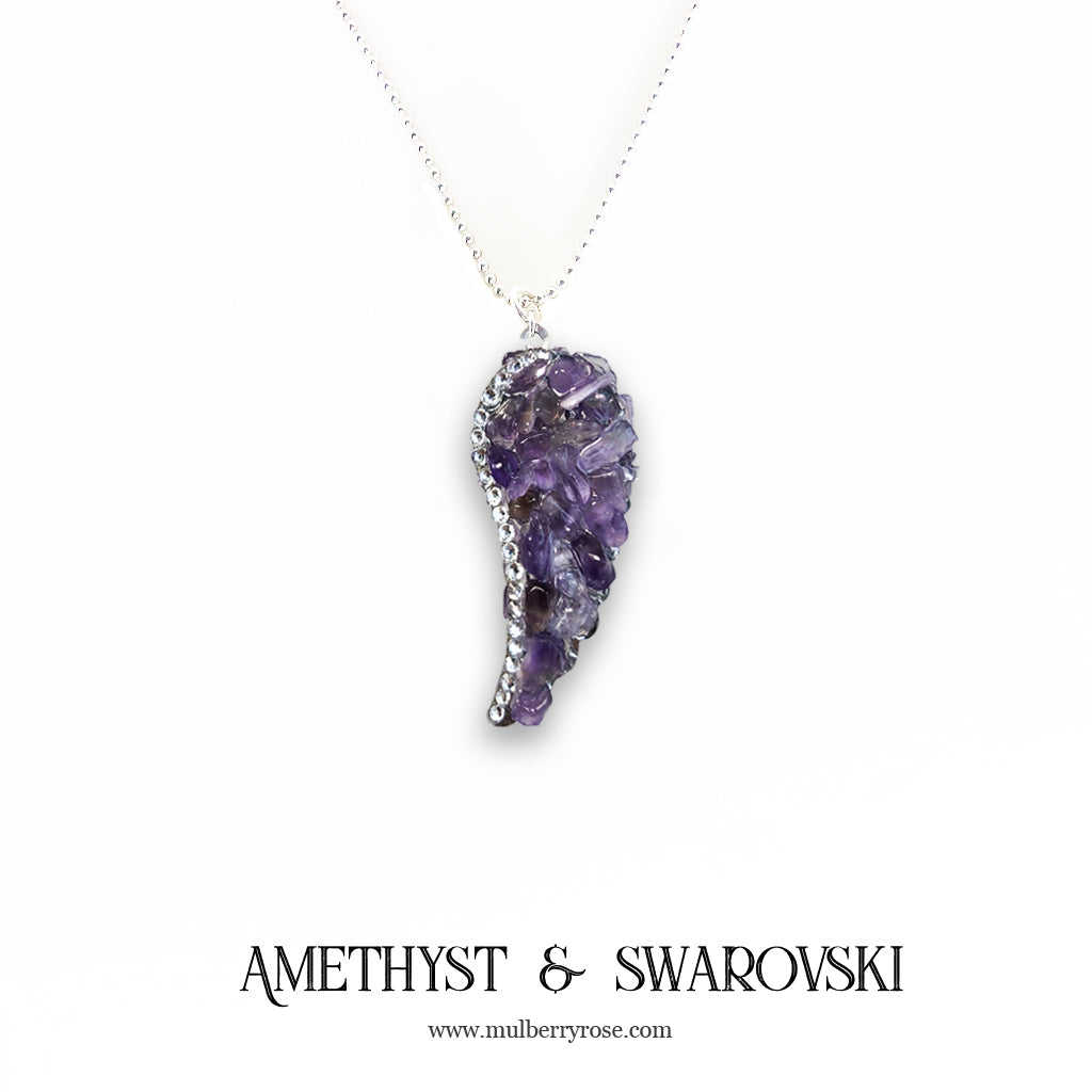 mylittlecrystal - Amethyst Angel Wing Necklace with Swarovski Crystal Accent