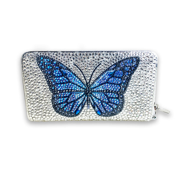 Blue Butterfly Swarovski Crystal Clutch Wallet