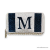 Monogram Initial Swarovski Crystal Clutch Wallet, Silver and Deep Blue Crystal