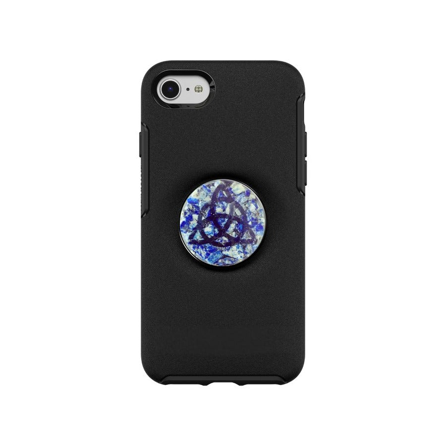 Lapis Lazuli Crystal Shield PopSocket Sticker with Triquetra symbol