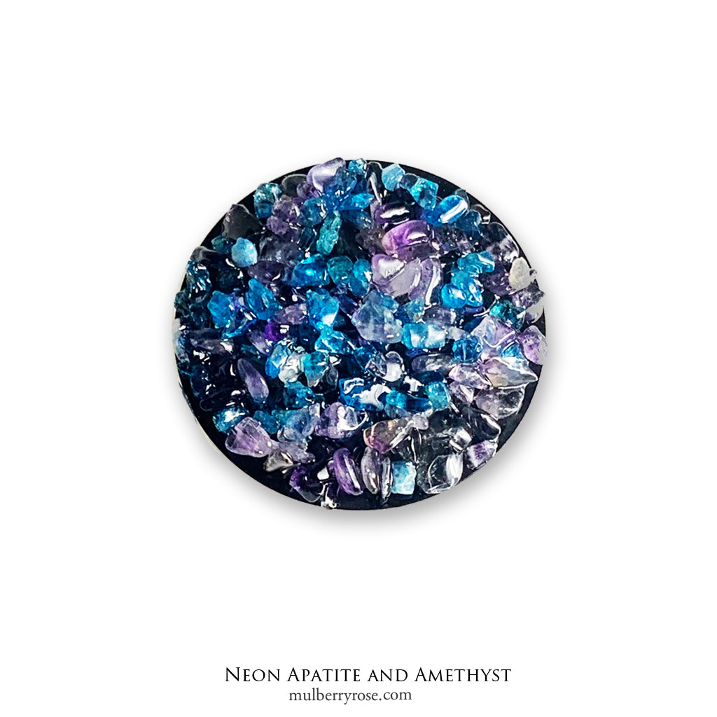 Neon Apatite and Amethyst Gemstone Sticker