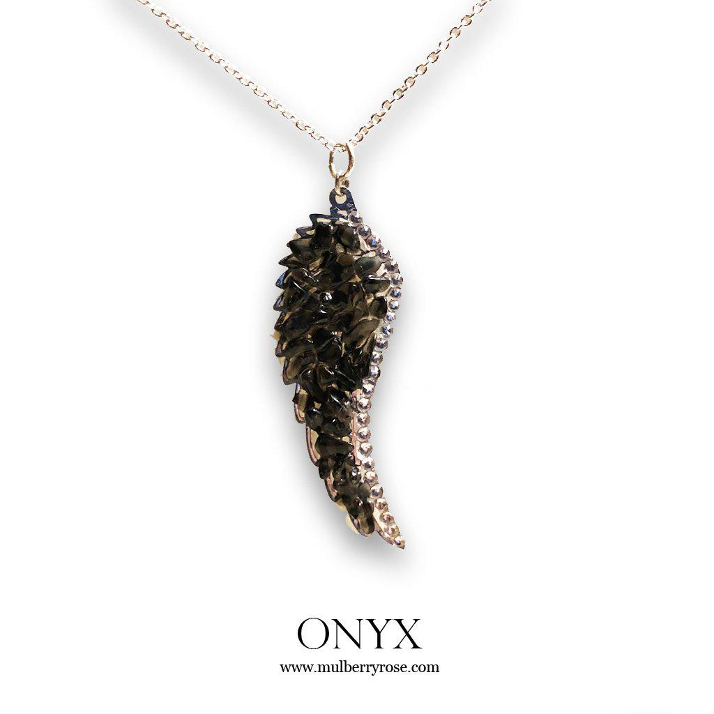 mylittlecrystal - Moonstone and Black Onyx Angel Wing Necklace with Swarovski Crystal Accent