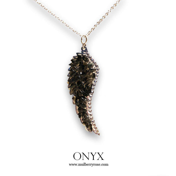 Moonstone and Black Onyx Angel Wing Necklace with Swarovski Crystal Accent-Necklace-Mulberry Rose
