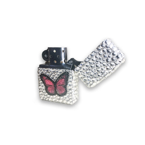 Pink Butterfly Crystal Zippo Lighter