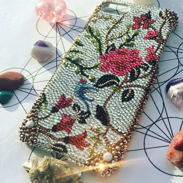 Custom Crystal Phone Case-Mulberry Rose