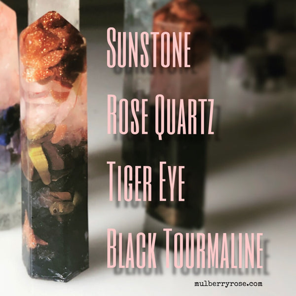 mylittlecrystal - Sunstone, Rose Quartz, Tiger Eye, and Black Tourmaline Crystal