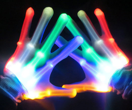 PACK OF 5 PAIRS OF LED FLASHING GLOVES RAVE FINGER LIGHTING ELECTRO SKELETON DANCE PARTY 7 MODE NEW STOCKING STUFFER / CHRISTMAS GIFT