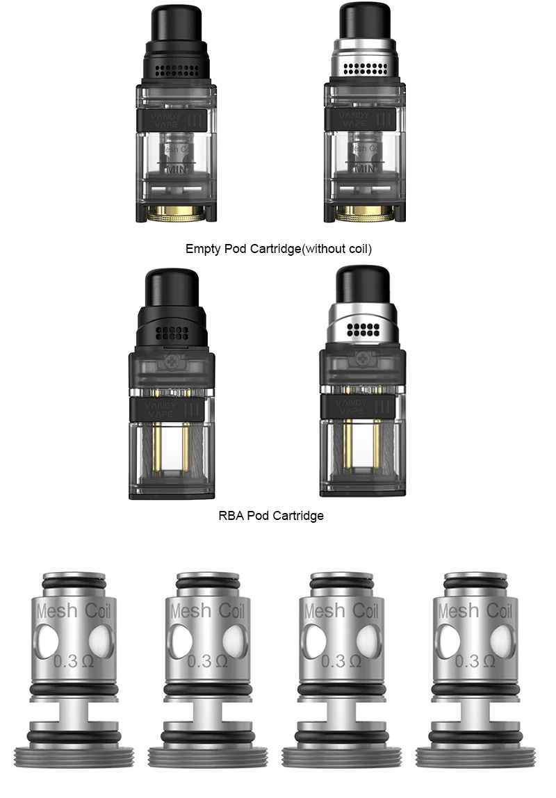Vandy Vape Kylin M AIO Replacement Coils (4pcs/pack) & POD CARTRIDGES (REBUILDABLE & FOR PREBUILT COILS)