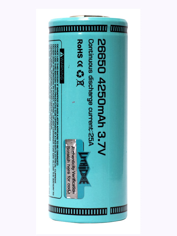 LITHICORE IMR 26650 LIMN 4250MAH 25A (50A MAX PULSE) RECHARGEABLE BATTERY
