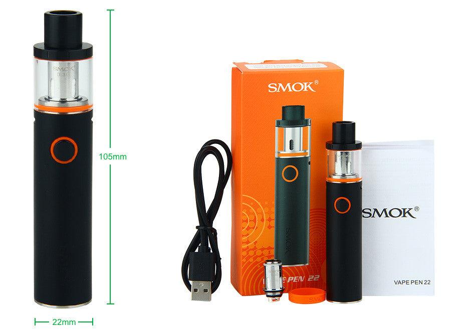 SMOK VAPE PEN 22 AIO ALL IN ONE EGO 1650MAH BATTERY LEAK FREE CHILD PROOF CLEAROMIZER STARTER KIT