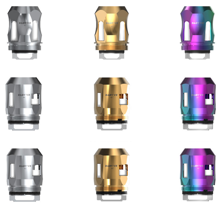 SMOK TFV8 BABY V2 REPLACEMENT COILS (A1, A2, A3, S1, S2, K1, K4) 3PK (SILVER COLOR)