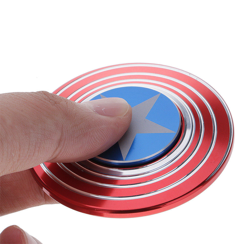CAPTAIN SHIELD SPIRAL AMERICA RED / BLUE ALUMINUM METAL HAND SPINNER R188 BEARING FIDGET DESK TOY