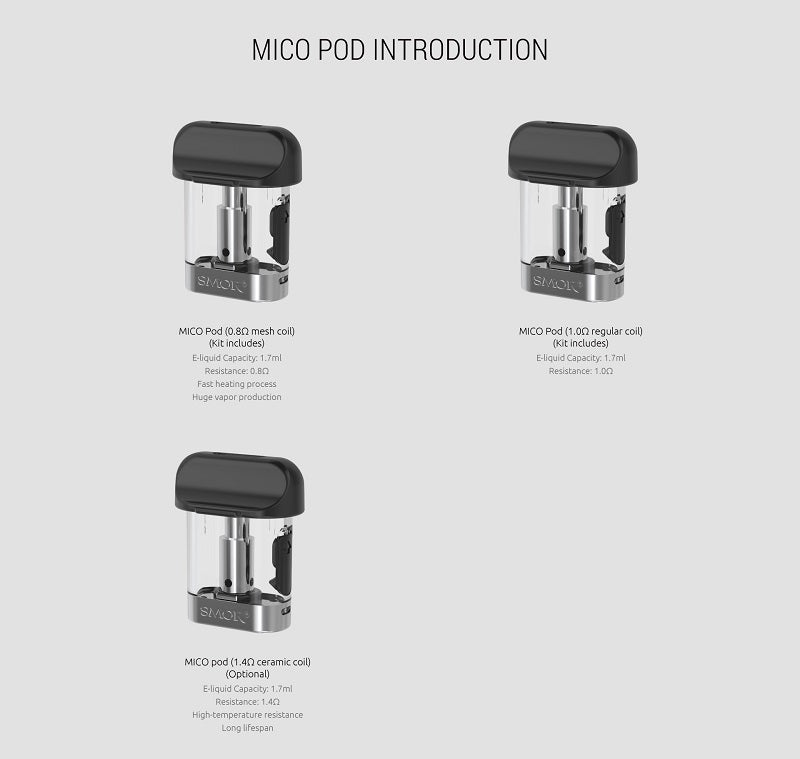 SMOK MICO RESIN POD SYSTEM KIT AIO ALL IN ONE 700MAH 1.7ML STARTER KIT