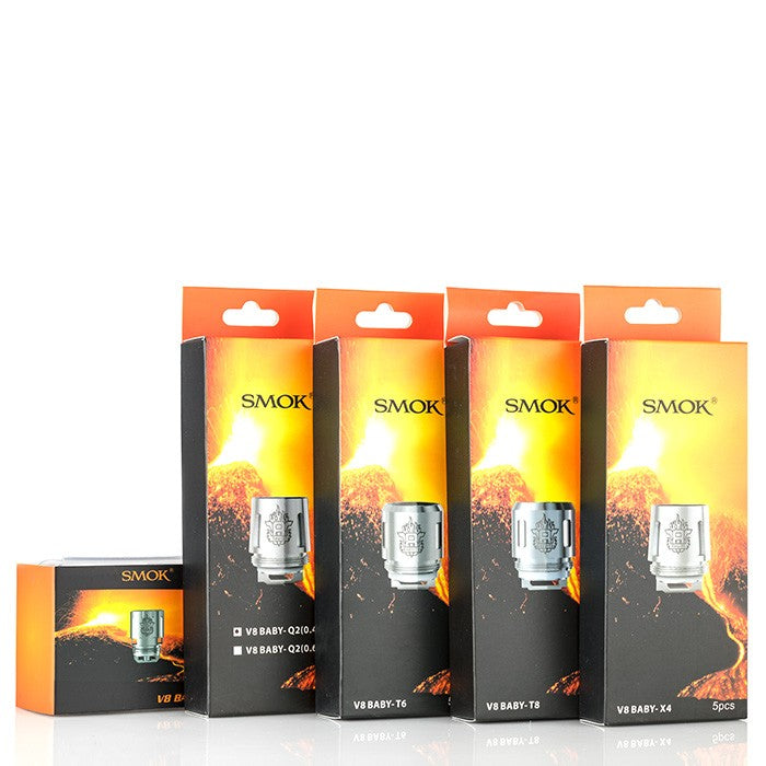 SMOK TFV8 BABY & TFV12 BABY PRINCE REPLACEMENT COILS 5PK (T12 LIGHT, MESH, T8, T6, X4, Q2, AND M2 OPTIONS) ACCESSORY