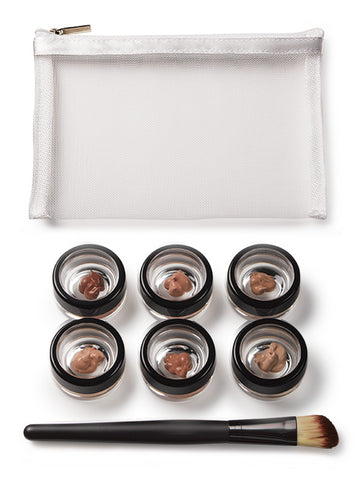 """THE TRYOUT"" foundation edition custom sample 6-piece set plus brush"