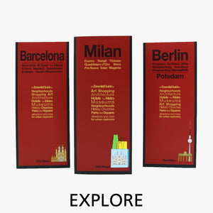 European city foldout travel street maps with red cover designs.