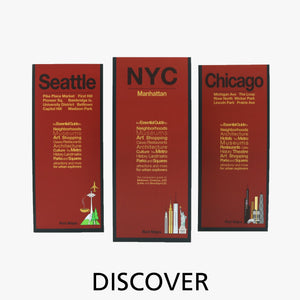 US American city foldout travel street maps with red cover designs.