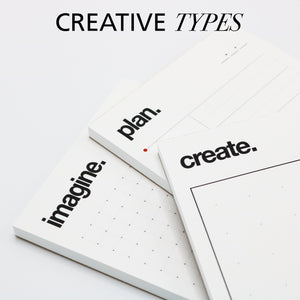 Creative artistic themed notepads and sketchpads.