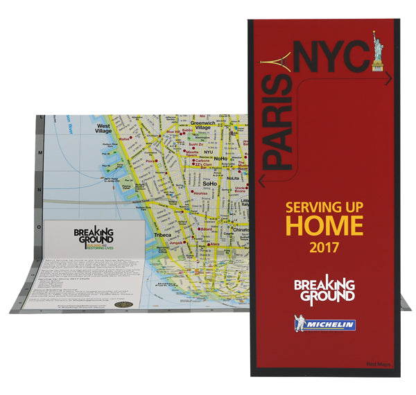 Custom map showing Michelin starred restaurants in NYC and Paris.