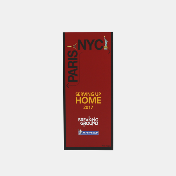 Red cover of a custom map of famous restaurants in New York City and in Paris.