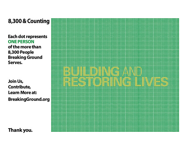 Graphic design using dots to represent numbers of people helped to get housing in NYC.