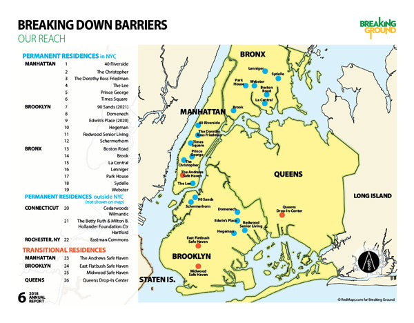 NYC map showing housing for homeless people.